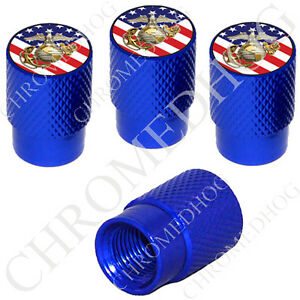 4 D Blue Billet Aluminum Knurled Tire Air Valve Stem Caps Usmc Marines Us Flag