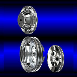 Chrome Small Block Chevy Pulley Set 3 Pulleys Long Pump Sbc For Keyway Ps
