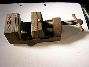Vintage Stanley Machinist Vise 2 6 Inch Opens Good Mounted On Turn Table