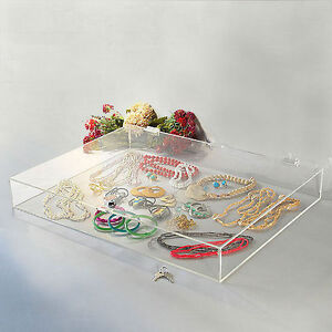 Acrylic Countertop Display Showcase Rectangular W Lock 24 1 4 X 18 1 4 X 3 h