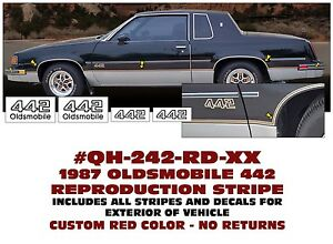 Sp Qh 242 1987 Oldsmobile Olds 442 Reproduction Stripe Kit Body Decal Names