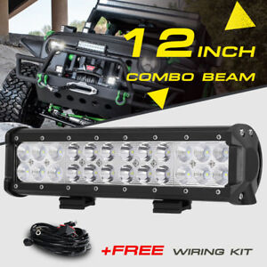 12inch 72w Led Light Bar Work Spot Flood Combo Beam Cree 4wd Car Atv Wiring Kit