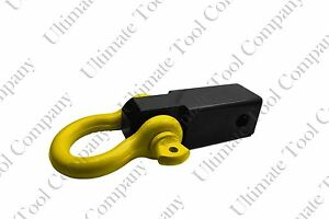 Heavy Solid Yellow Shank Shackle 10k Lb D Ring 2 Receiver Hitch Trailer