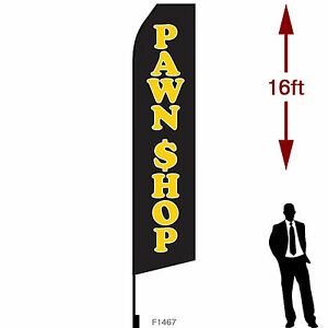 16ft Outdoor Advertising Flag With Pole Set Ground Stake pawn Shop