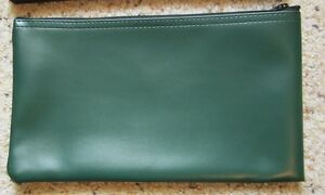 1 Green Vinyl Zipper Bank Bag Money Jewelry Pouch Coin Currency Wallet Coupons