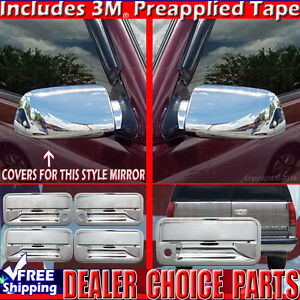 1992 1999 Suburban 1995 1999 Tahoe Chrome Door Handle Tailgate Mirror Covers 4dr