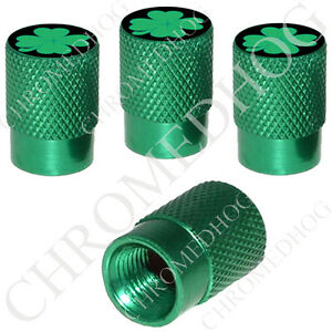 4 Green Billet Aluminum Knurled Tire Air Valve Stem Caps Irish Clover Luck Blk