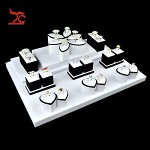 White Pu Lover s Ring Holders Jewelry Display Showcase For Decorative Closet