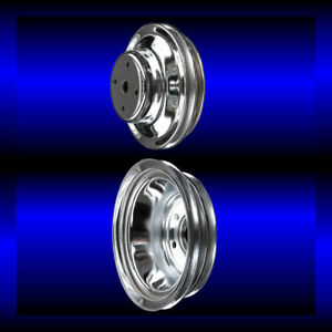 Chrome Big Block Chevy Pulley Set 2 Pulleys Long Pump Bbc 396 427 454