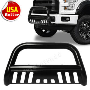 For 04 18 Ford F150 Black Stainless S s Bull Bar Push Brush Bumper Grille Guard