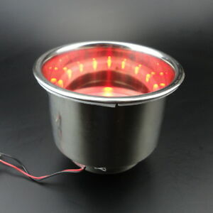 10pcs 8led Red Stainless Steel Cup Drink Holder Marine Boat Car Truck Camper