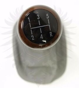 Genuine Euro Oem Vw B5 3b Passat 5 Speed Gray Leather Dark Wood Shift Knob
