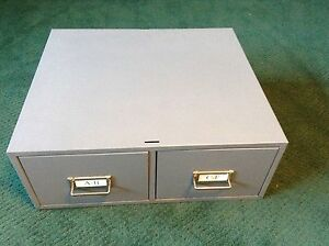 Vintage Buddy Product 2 Drawer File Card Cabinet Grey Made In Usa 2 Available