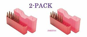 MTM Case J-20 Ammo Box Large  Rifle Holds 20 Rds Clear Red # J-20-L-29-2  2-PACK