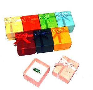 16 Pastel Ribbon Ring Gift Boxes Jewelry Display 8 Asst Colors