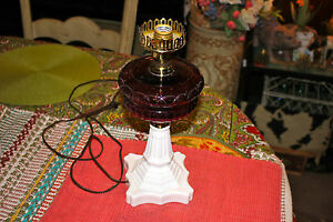 Antique Victorian Oil Kerosene Converted Table Lamp Purple Glass Milk Glass