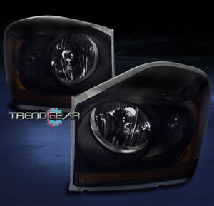 2004 2005 Dodge Durango Crystal Style Headlights Lamps Black smoke Replacement