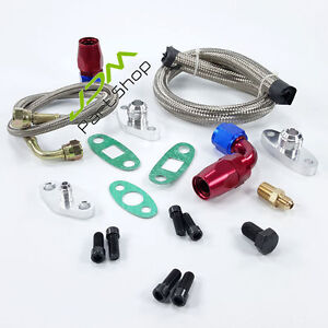 Oil Drain Return Feed Line Kit For Toyota 1jzgte 2jzgte Supra Single Turbo