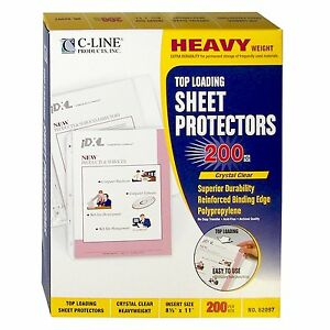 200 C line Clear Sheet Page Protectors 8 5x11 Poly Plastic Top Load