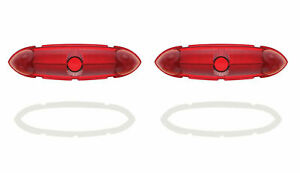1951 Ford Full Size Passenger Car Red Rear Tail Light Lamp Lens W Gaskets Pair