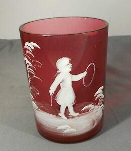 Antique Mary Gregory Cranberry Glass Tumbler White Enameled Scene Girl W Hoop