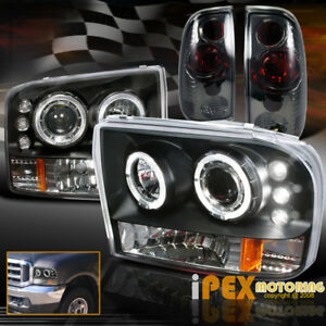 Black 99 04 Ford F250 Super duty Halo Led Projector Head Light smoke Tail Lamps