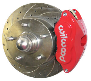 Sws Disc Brake Conversion Kit Front 59 64 11 Drilled Rotors Red Wilwood Caliper