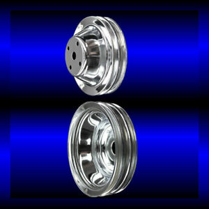 Chrome Small Block Chevy Pulley Set 2 Pulleys Long Pump Sbc For Alt Ac And Ps