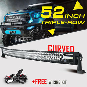 Tri Row 52 2610w Curved Cree Led Work Light Bar Spot Flood Offroad For Ford 54