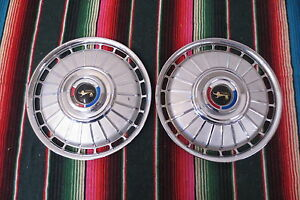 Original Pair 1960 s Mercury Cougar Wheel Hub Caps Covers Hubcaps 14 inch
