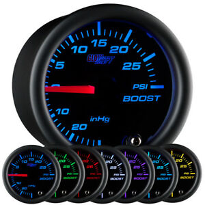 52mm Glowshift Clear Lens 7 Color Turbo Mechanical Boost Pressure Gauge Meter