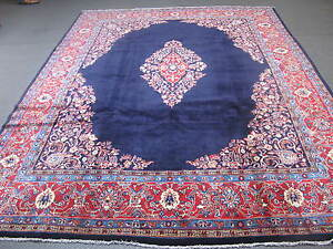 Semi Antique Persian Sarouk Hand Knotted Wool Rug 9 X 12 6