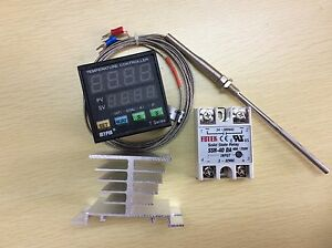 Digital F c Pid Temperature Controller Ta4 snr K type Probe 40a Ssr heat Sink