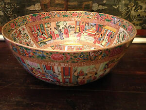 Monumental Antique Chinese Famille Rose Mandarin Punch Bowl