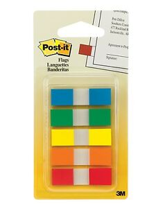 New 3m Post it Flags Sticky Notes Assorted Colors 100 Flags