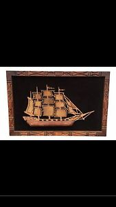 Witco Carved Torch Cut Wall Art Of Ship With Carved Wood Frame Vintage Mid Cent