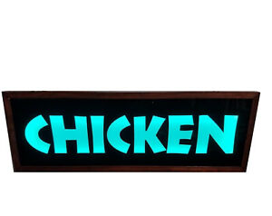 Chicken pizza bbq Sign fast Food restaurant Sign led Light Box Sign 10 x30