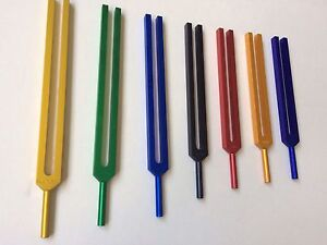 Chakra Tuning Fork Color Therapy Energy Healing With Activator Velvet Pouch