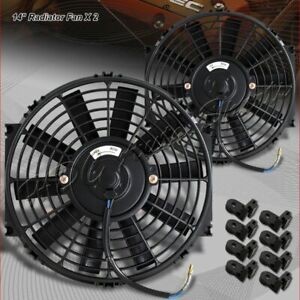 2x 14 Black Electric Slim Push Pull Engine Bay Cooling Radiator Fan Universal 2