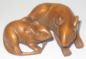 Lovely Boxwood Netsuke 2 Lying Mice In Love