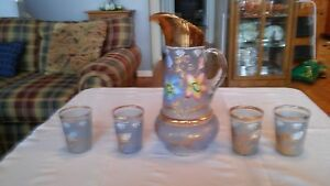 Antique Pitcher With Four Tumblers Fenton Northwood Cherries And Flowers