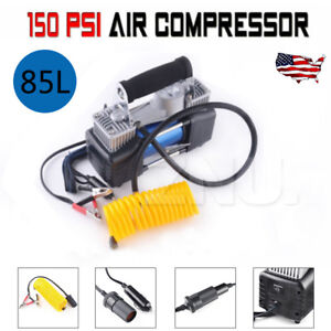 New 150psi 12v Portable Mini Air Compressor Car Electric Tire Inflator Pump
