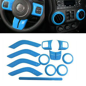 12x Light Blue Interior Trim Accent Kit Full Set For 2011 2017 Jeep Wrangler Jk
