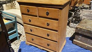 Antique Victorian Style Pine Chest Of Drawers