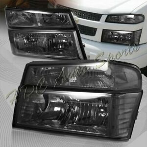 For 2004 2012 Chevy Colorado Smoke Headlights Bumper Lamp W Clear Reflector 4pcs