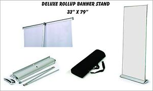 Deluxe Retractable Roll Up Banner Stand display 33 X 79 W Free Ship