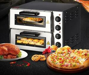 New 220v 16 Double Electric Pizza Oven Commercial Ceramic Stone