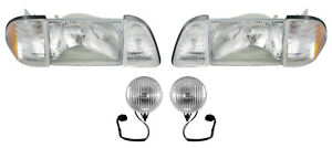 1987 1993 Ford Mustang Gt Stock Headlights W Amber Sides Fog Lights Kit