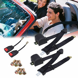 2 Set 3 Point Safety Adjustable Adjust Car Vehicle Seat Belt Lap Universal