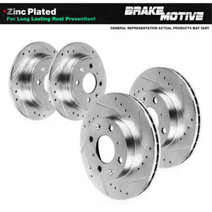 Front Rear Drill Slot Brake Rotors For Honda Civic Del Sol Hatchback Si